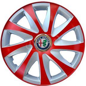 """Copricerchi per ALFA ROMEO 15"""", DRIFT EXTRA rosso-argento 4pz"""
