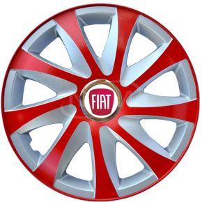 "Copricerchi per FIAT 15"", DRIFT EXTRA rosso-argento 4pz"