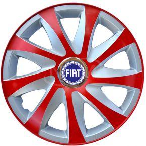 "Copricerchi per FIAT 14"", DRIFT EXTRA rosso-argento 4pz"