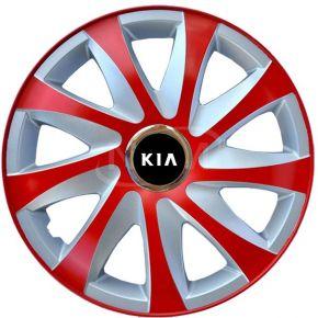 """Copricerchi per KIA 15"""", DRIFT EXTRA rosso-argento 4pz"""