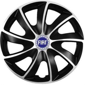 """Puklice pre Fiat 14"""", Quad bicolor modrý znak, 4 ks"""