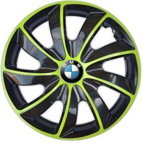 """Copricerchi per BMW 14"""", QUAD BICOLOR VERDE 4 pz"""