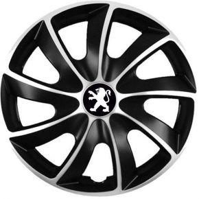 """Puklice pre Peugeot 17"""", Quad bicolor, 4 ks"""