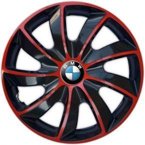 """Copricerchi per BMW 16"""", QUAD BICOLOR ROSSO 4 pz"""
