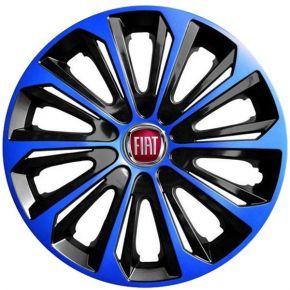 """Copricerchi per FIAT 15"""", STRONG DUOCOLOR NERO-BLU 4 pz"""